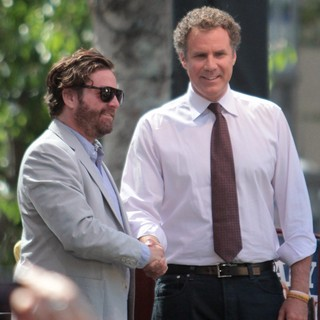 Zach Galifianakis, Will Ferrell in Zach Galifianakis and Will Ferrell Promote Their Film The Campaign on Entertainment News Show Extra