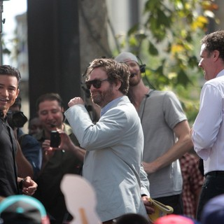 Mario Lopez, Zach Galifianakis, Will Ferrell in Zach Galifianakis and Will Ferrell Promote Their Film The Campaign on Entertainment News Show Extra