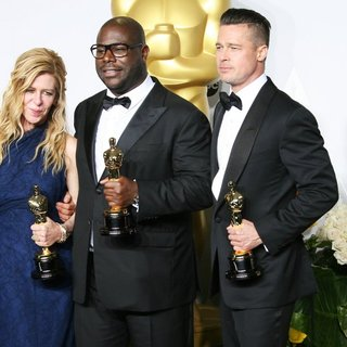 Dede Gardner, Steve McQueen, Brad Pitt in The 86th Annual Oscars - Press Room