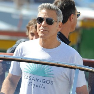 George Clooney in George Clooney Seen Out and About on A Boat
