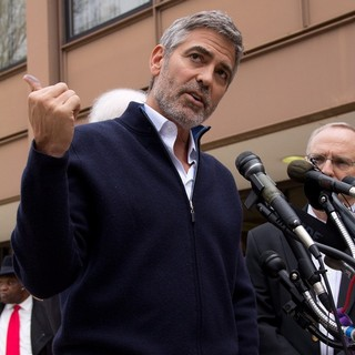 George Clooney in George Clooney and His Father Nick Clooney Speak to The Press
