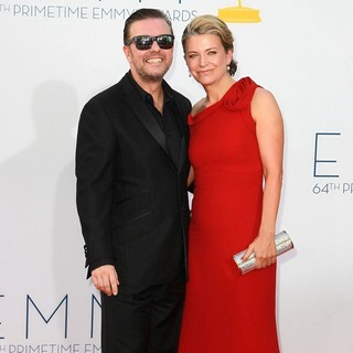 Ricky Gervais, Jane Fallon in 64th Annual Primetime Emmy Awards - Arrivals