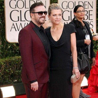 Ricky Gervais, Jane Fallon in The 69th Annual Golden Globe Awards - Arrivals