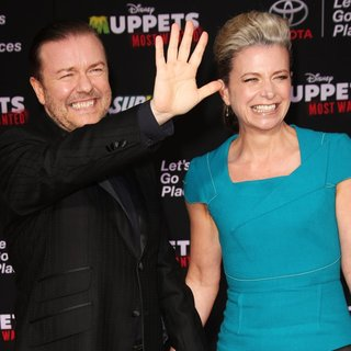 Ricky Gervais, Jane Fallon in Los Angeles Premiere of Disney's Muppets Most Wanted - Red Carpet Arrivals