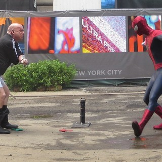 Paul Giamatti, Andrew Garfield in On The Set of The Amazing Spider-Man 2