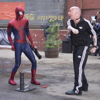 Andrew Garfield, Paul Giamatti in On The Set of The Amazing Spider-Man 2