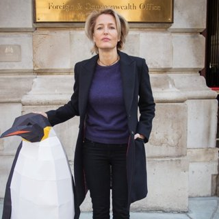 Gillian Anderson Outside The FCO Ahead of Handing in A Petition