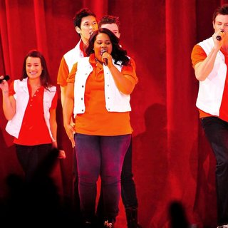 Lea Michele, Harry Shum Jr., Amber Riley, Cory Monteith in The Cast of Glee Live in Concert Performing on Stage
