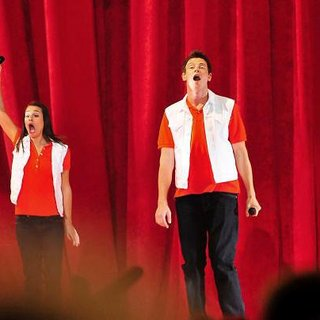 Kevin McHale, Lea Michele, Cory Monteith, Dianna Agron in The Cast of Glee Live in Concert Performing on Stage