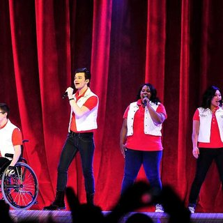 Lea Michele, Kevin McHale, Chris Colfer, Amber Riley, Jenna Ushkowitz, Cory Monteith in The Cast of Glee Live in Concert Performing on Stage