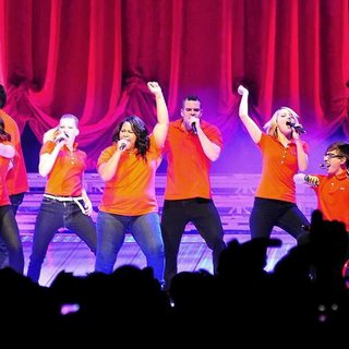 Lea Michele, Matthew Morrison, Jenna Ushkowitz, Jessalyn Gilsig, Amber Riley, Mark Salling, Dianna Agron, Kevin McHale, Chord Overstreet in The Cast of Glee Live in Concert Performing on Stage
