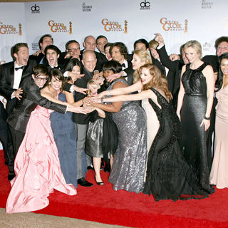 Matthew Morrison, Kevin McHale, Lea Michele, Jenna Ushkowitz, Ryan Murphy, Chris Colfer, Amber Riley, Dianna Agron, Jayma Mays, Jane Lynch, Mark Salling in 68th Annual Golden Globe Awards - Press Room