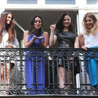 Selena Gomez, Vanessa Hudgens, Rachel Korine, Ashley Benson in The Cast of Spring Breakers Wave to Fans at The Bristol Hotel's Balcony