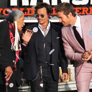 Saginaw Grant, Johnny Depp, Armie Hammer in The World Premiere of Disney-Jerry Bruckheimer Films' The Lone Ranger