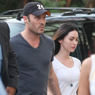 Brian Austin Green, Megan Fox in Brian Austin Green and Megan Fox Arrive at The Staples Center for NBA Western Conference Semi-Finals