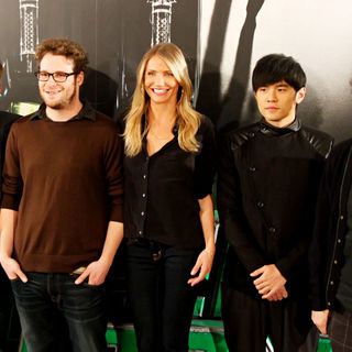 Christoph Waltz, Seth Rogen, Cameron Diaz, Jay Chou, Michel Gondry in 'The Green Hornet' Photocall