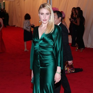 Greta Gerwig in Schiaparelli and Prada Impossible Conversations Costume Institute Gala