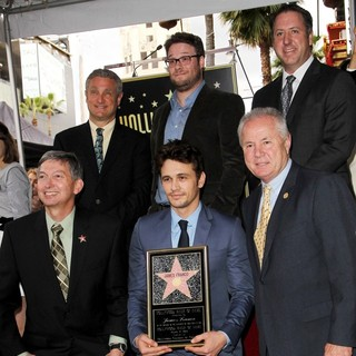 Leron Gubler, David Green, James Franco, Seth Rogen, Tom LaBonge, Christopher Barton in James Franco Is Honoured with A Hollywood Star on The Hollywood Walk of Fame