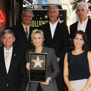 Leron Gubler, Jane Lynch, Ryan Murphy, Christopher Guest in Jane Lynch Honored on The Hollywood Walk of Fame