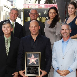 Leron Gubler, Ron Meyer, Vin Diesel, Michelle Rodriguez, Mitch O'Farrell in Vin Diesel Honored on The Hollywood Walk of Fame