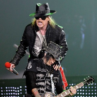Axl Rose, DJ Ashba, Guns N' Roses in Guns N' Roses Perform on Stage at Copps Coliseum in Hamilton