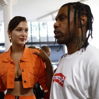 Bella Hadid, Travis Scott (II)-Paris Fashion Week Menswear Spring/Summer 2018 - Heron Preston - Celebrity Sightings