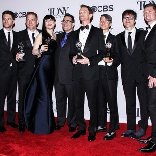 David Binder, Lena Hall, Michael Mayer, Neil Patrick Harris, Stephen Trask, John Cameron Mitchell in The 68th Annual Tony Awards - Press Room