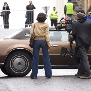 Halle Berry in On The Film set of Cloud Atlas Shooting on Location in Glasgow