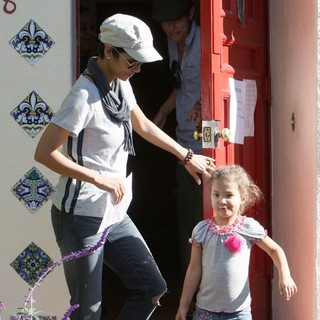 Halle Berry, Nahla Ariela Aubry in Halle Berry Sports What Might be An Engagement Ring as She Spends The Day with Her Kids