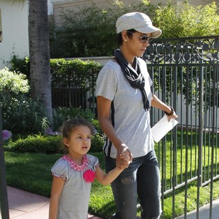 Nahla Ariela Aubry, Halle Berry in Halle Berry Sports What Might be An Engagement Ring as She Spends The Day with Her Kids
