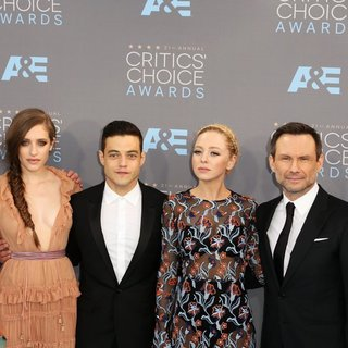 Chad Hamilton, Carly Chaikin, Rami Malek, Portia Doubleday, Christian Slater, Sam Esmail in 21st Annual Critics' Choice Awards - Arrivals