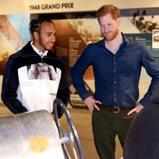 Lewis Hamilton, Prince Harry in Lewis Hamilton and Prince Harry Visit to The Silverstone Circuit