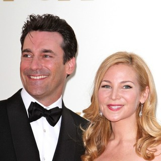 Jon Hamm, Jennifer Westfeldt in The 63rd Primetime Emmy Awards - Arrivals