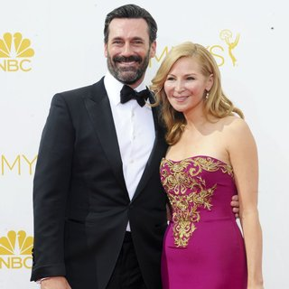 Jon Hamm, Jennifer Westfeldt in 66th Primetime Emmy Awards - Arrivals
