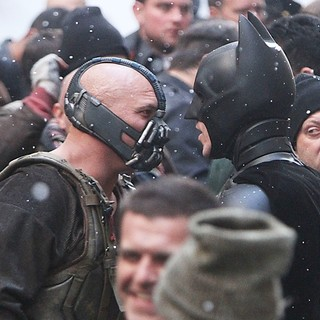 Tom Hardy, Christian Bale in On The Batman Movie Set of The Dark Knight Rises