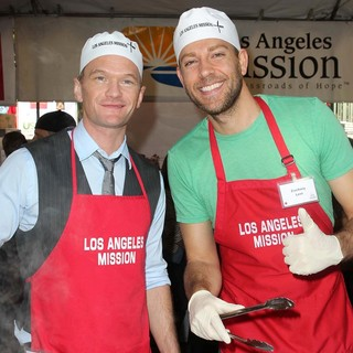 Neil Patrick Harris, Zachary Levi in The Los Angeles Mission's Thanksgiving for Skid Row Homeless
