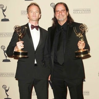 Neil Patrick Harris, Glenn Weiss in 2012 Creative Arts Emmy Awards - Press Room