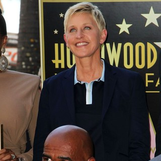 Ellen DeGeneres, Steve Harvey in Steve Harvey Is Honoured with A Star on The Hollywood Walk of Fame