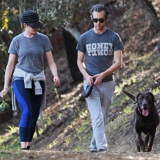Anne Hathaway Jogging with Adam Shulman and Their Dog