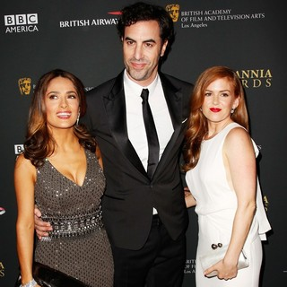 Sacha Baron Cohen in 2013 BAFTA Los Angeles Jaguar Britannia Awards Presented by BBC America - Arrivals - hayek-cohen-fisher-2013-bafta-la-jaguar-britannia-awards-01