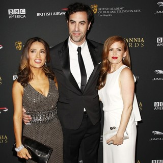 Sacha Baron Cohen in 2013 BAFTA Los Angeles Jaguar Britannia Awards Presented by BBC America - Arrivals - hayek-cohen-fisher-2013-bafta-la-jaguar-britannia-awards-02