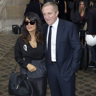 Salma Hayek, Francois-Henri Pinault in Paris Fashion Week Spring/Summer 2013 - Balenciaga
