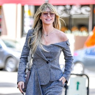 Heidi Klum in Heidi Klum Gorgeous in Gray Tweed Jumpsuit