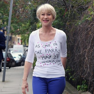 Helen Mirren Wearing A T-Shirt Promoting The As One in The Park Festival