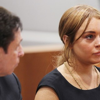 Mark Heller, Lindsay Lohan in Lindsay Lohan Inside A Los Angeles Court During Her Car Crash Case Pretrial Hearing