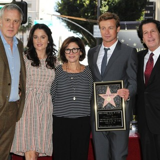Bruno Heller, Robin Tunney, Simon Baker in Simon Baker Is Honoured with A Star on The Hollywood Walk of Fame