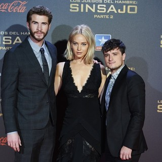 Liam Hemsworth, Jennifer Lawrence, Josh Hutcherson in The Hunger Games: Mockingjay, Part 2 Madrid Premiere