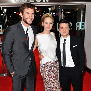 Liam Hemsworth, Jennifer Lawrence, Josh Hutcherson in The World Premiere of The Hunger Games: Catching Fire - Arrivals