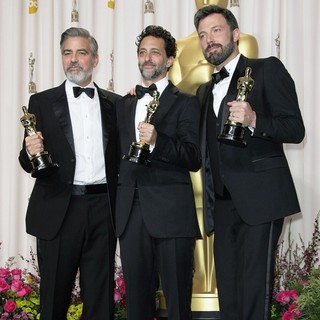 George Clooney, Grant Heslov, Ben Affleck in The 85th Annual Oscars - Press Room