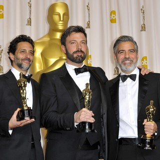 Grant Heslov, Ben Affleck, George Clooney in The 85th Annual Oscars - Press Room